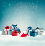 Winter background with presents. Stock Photos