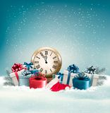 Winter background with presents. Stock Photo