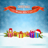 Winter background with presents. Vector. Royalty Free Stock Images