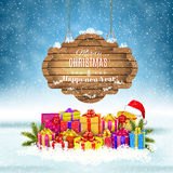 Winter background with presents. Vector. Stock Image