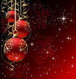 Winter background with red christmas balls Stock Photography