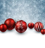 Winter background with red christmas balls. Stock Photography