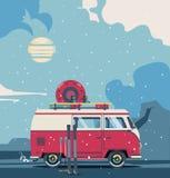Winter background retro travel van. Vector illustration car with landscape. Winter background retro travel van Royalty Free Stock Image