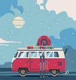 Winter background retro travel van. Vector illustration car with landscape. Winter background retro travel van Royalty Free Stock Photos