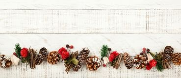 Winter Background With Rustic Christmas Garland Stock Image Image