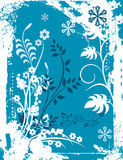 Winter background series. Winter holiday background with snowflakes, floral, ornamental and grunge details. Vector illustration in blue and white colors Royalty Free Stock Photography