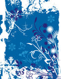 Winter background series. Winter holiday background with snowflakes, floral, ornamental and grunge details. Vector illustration in blue and white colors Royalty Free Stock Photos