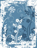Winter background series. Winter holiday background with snowflakes, floral, and grunge details. Vector illustration in blue and white colors Stock Images