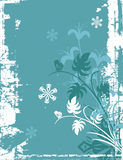 Winter background series. Winter holiday background with snowflakes, floral, ornamental and grunge details. Vector illustration in green, blue and white colors Royalty Free Stock Photo
