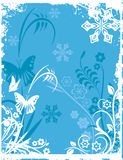 Winter background series. Winter holiday background with snowflakes, floral, ornamental and grunge details. Vector illustration in blue and white colors Stock Photo