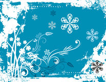 Winter background series. Winter holiday background with snowflakes, floral, ornamental and grunge details. Vector illustration in blue and white colors Stock Images