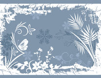 Winter background series. Winter holiday background with snowflakes, floral, and grunge details. Vector illustration in pastel blue and white colors Royalty Free Stock Image