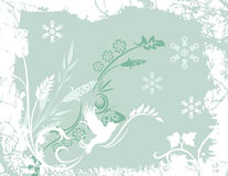 Winter background series. Winter holiday background with snowflakes, floral, and grunge details. Vector illustration in soft green and white colors Stock Photo