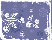 Winter background series. Winter holiday background with snowflakes, floral, and grunge details. Vector illustration in pastel blue and white colors Stock Image