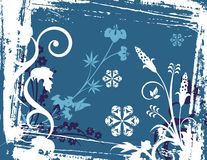 Winter background series. Winter holiday background with snowflakes, floral, ornamental and grunge details. Vector illustration in blue and white colors Royalty Free Stock Photo