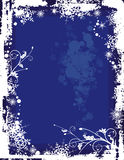 Winter background series. Winter grunge background with snowflakes and ornamental floral details, vector illustration in blue colors. EPS file available Royalty Free Stock Photography