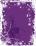 Winter background series. Winter grunge background with snowflakes and swirl details, vector illustration in violet colors. EPS file available Stock Photo