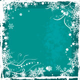 Winter background series. Winter grunge background with snowflakes and swirl details, designed in green colors. EPS file available Royalty Free Stock Photography