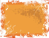 Winter background series. Winter grunge background with snowflakes and floral details, vector illustration in orange colors. EPS file available Royalty Free Stock Images