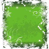 Winter background series. Winter grunge background with snowflakes and swirl details, designed in green colors. EPS file available Stock Image