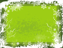 Winter background series. Winter grunge background with snowflakes and swirl details, vector illustration in green colors. EPS file available Stock Images