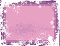 Winter background series. Winter grunge background with snowflakes and floral details, vector illustration in mauve colors. EPS file available Stock Photo
