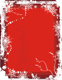 Winter background series. Winter grunge background with snowflakes and floral details, vector illustration in red colors. EPS file available Royalty Free Stock Image