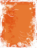 Winter background series. Winter grunge background with snowflakes and swirl details, designed in orange colors. EPS file available Royalty Free Stock Image