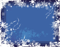 Winter background series. Winter grunge background with snowflakes and floral details, vector illustration in blue colors. EPS file available Royalty Free Stock Photos