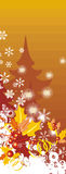 Winter background series. Winter holiday background with snowflakes, leaves, ribbons and grunge details. EPS file available. EPS file available Stock Image