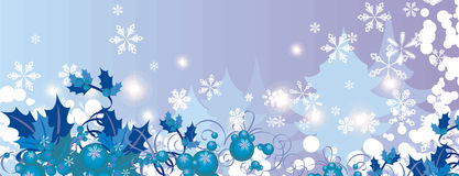 Winter background series. Winter holiday background with snowflakes, leaves, ribbons and grunge details. EPS file available Royalty Free Stock Image