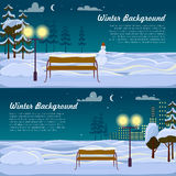 Winter Background. Set of Two Pictures. Benches Royalty Free Stock Photos