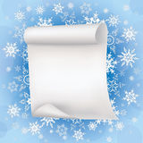 Winter background with sheet of paper and snowflak. Winter stylish blue background with sheet of paper and white ornate snowflakes. New Year and Christmas card Royalty Free Stock Image