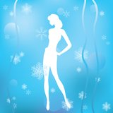 Winter background with a silhouette of a girl. Royalty Free Stock Photo