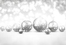 Winter background with silver christmas balls. Royalty Free Stock Photo