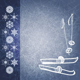 Winter background with ski and poles. EPS10 Royalty Free Stock Photos