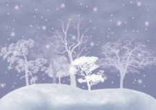 Winter background with snow-covered trees. Drawing imitation by oil paints Stock Image