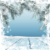 Winter background. Winter snow landscape with wooden table in front. Vector illustration Stock Photos