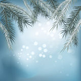 Winter background. Winter snow landscape with wooden table in front. Vector illustration Royalty Free Stock Image