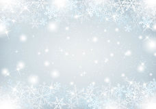 Winter background with snow and snowflakes Stock Photo