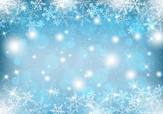 Winter background with snow and snowflakes Royalty Free Stock Images
