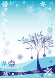 Winter background with snow tree and different snowflakes 2015 Royalty Free Stock Image
