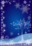 Winter background with snow tree and different snowflakes 2015 Royalty Free Stock Photography
