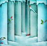 Winter background snow wall vector illustration