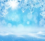 Winter background with snowdrifts for greeting card. stock image