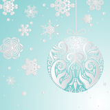 Winter Background with Snowflakes and Christmas ball. Royalty Free Stock Image