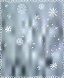 Winter background with snowflakes - for Christmas Stock Photos