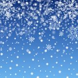 Winter background with snowflakes for Christmas or New Year. Vector.  royalty free illustration