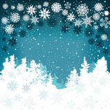 Winter background with snowflakes and Christmas trees Royalty Free Stock Photo