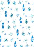 Winter background with snowflakes and christmas trees vector illustration